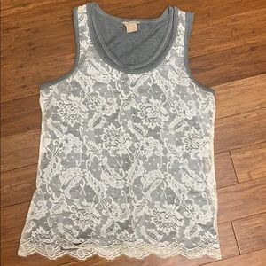 Michael Kors Gray and White Lace Tank